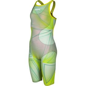 arena R-EVO ONE Full Body Short Leg Open Back Suit LTD Edition 2019 Girls green glass